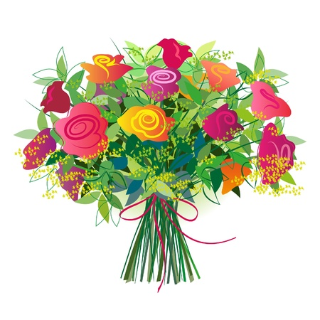 Roses  Large gift bouquet tied with a ribbon isolated on white