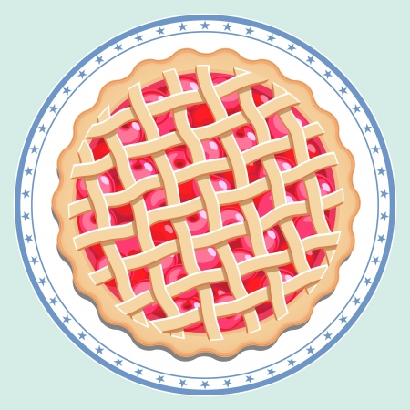 Cherry pie on a plate  Overhead view