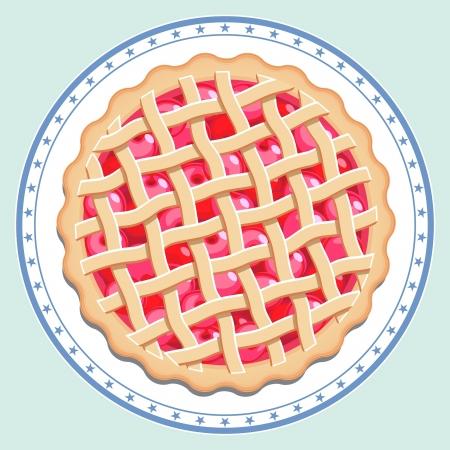 comida americana: Empanada de la cereza en una placa de arriba de la visi�n Vectores