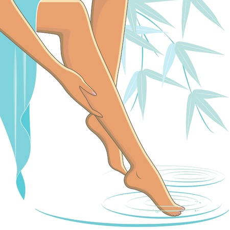 woman legs: Female legs with bamboo background, toes dipping into a spa pool Illustration