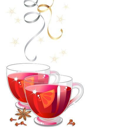 Glühwein in Tassen aus Glas mit Gewürzen und festliche Party Luftschlangen