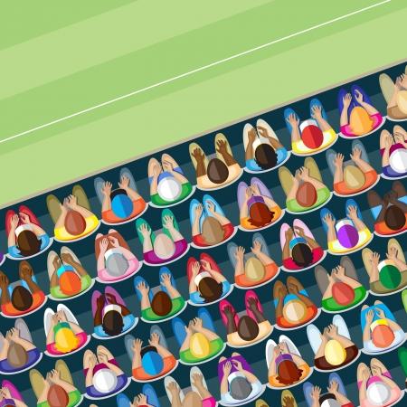 liggande: Stor skara vuxna åskådare på ett sportevenemang Overhead view Illustration