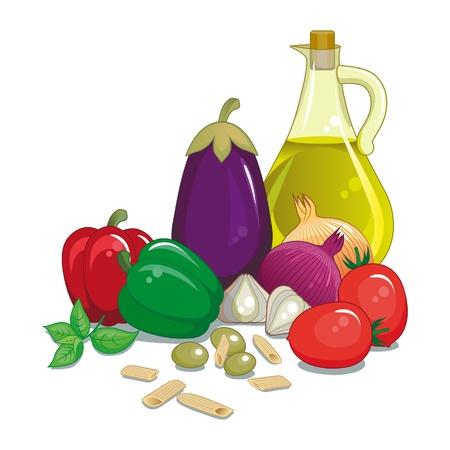 Groenten Italiaanse Middellandse met olijfolie, basilicum en deegwaren