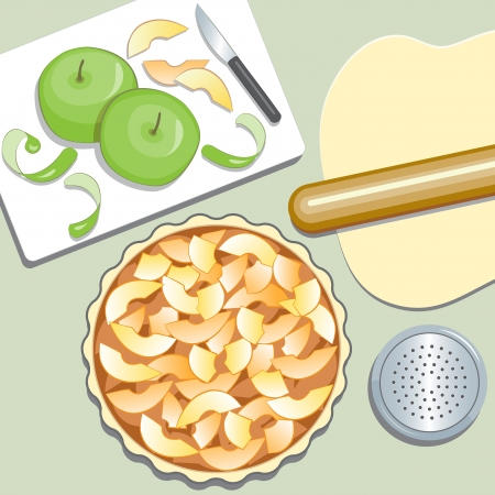 Apple pie. Home made food preparation Ilustração