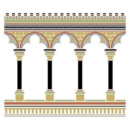 edad media: Arcade dibujado en estilo medieval. Seamless horizontal Vectores
