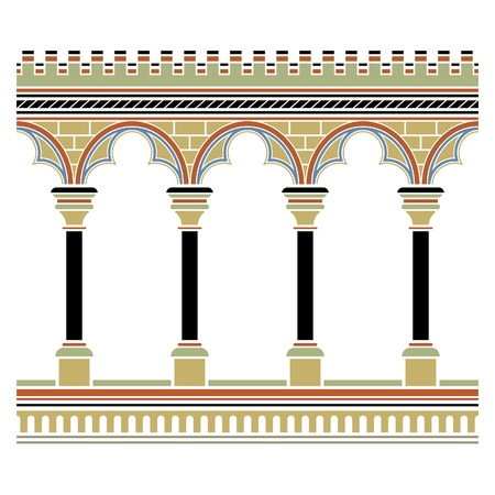 Arcade drawn in medieval style. Seamless horizontally  Illustration