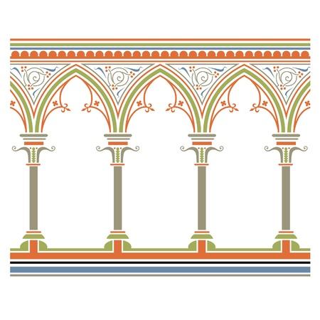 Arcade drawn in medieval style. Seamless horizontally  Ilustração