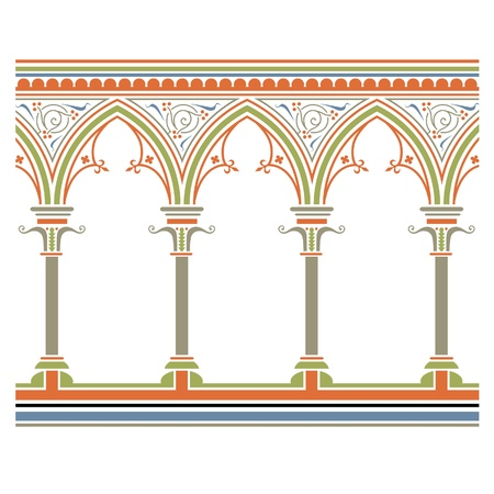 Arcade drawn in medieval style. Seamless horizontally  Vector