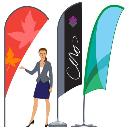Banner flag set with professional business woman on white background