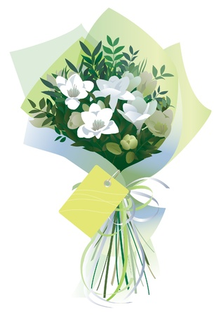Bouquet of white flowers gift wrapped in tissue paper. Isolated