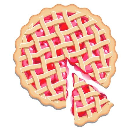Cherry pie met een rooster deeg top en een cut slice. Geïsoleerd