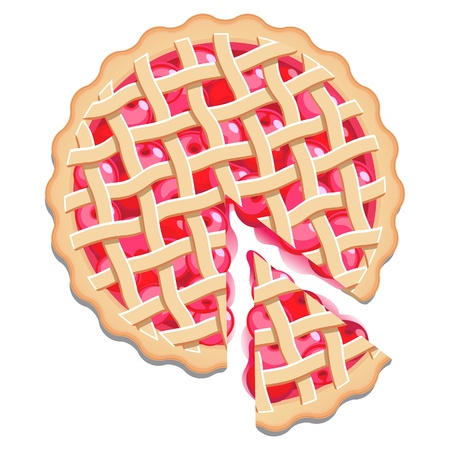 Cherry pie with a lattice pastry dough top and a cut slice. Isolated Illustration