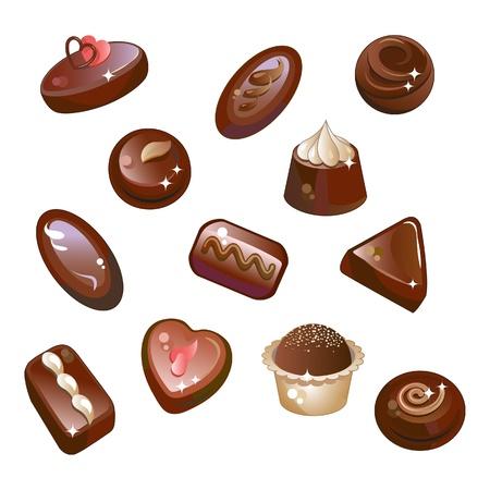 Donkere chocolade, chocolade snoep en truffels. Geïsoleerd