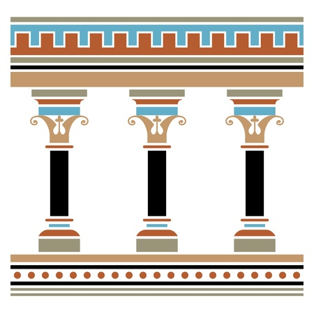 Colonnade drawn in medieval style. Seamless horizontally