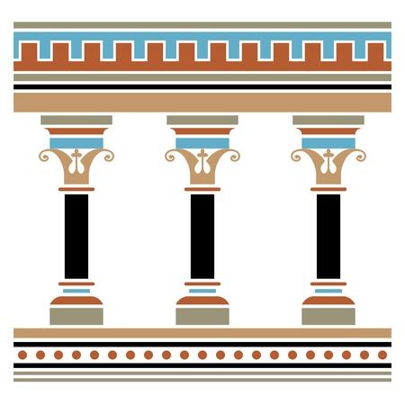 Colonnade getrokken in middeleeuwse stijl. Naadloze horizontaal