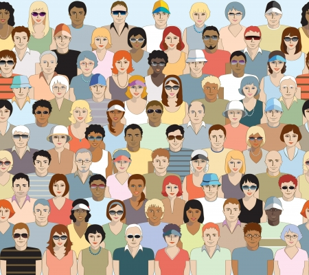 pessoas: Grande grupo de espectadores de esportes adultos. Projeto sem emenda Ilustra��o