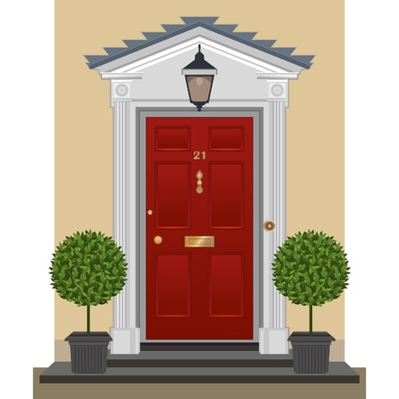 Red painted front door with brass fittings. Vector