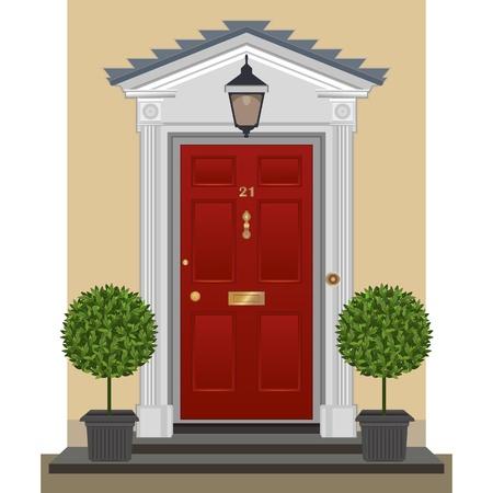 red door: Red painted front door with brass fittings.