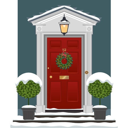 Red painted front door with Christmas wreath in the snow.