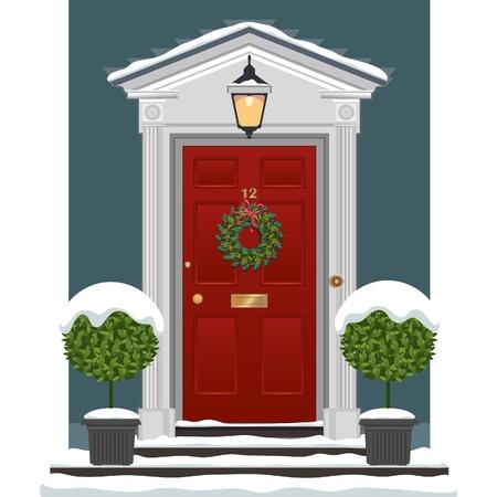 Rood geschilderde voordeur met kerstkrans in de sneeuw.