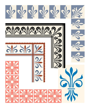 Fleur de Lys frame and border set. Heraldic design elements Ilustração