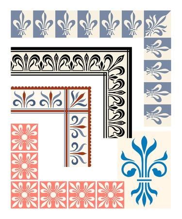 Fleur de Lys frame en grens set. Heraldische ontwerpelementen