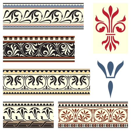 Fleur de Lys border and symbol set Vector