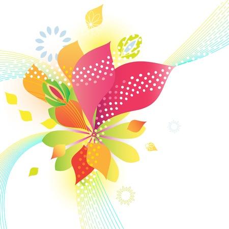 Abstracte bloemen barsten in frisse zomerkleuren Stock Illustratie