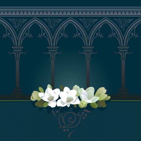 Pure white freesias with delicate arches background. Seamless horizontally.