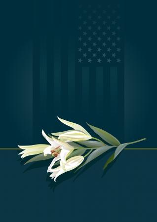 luto: Un tallo de lirios blancos puros contra las estrellas y rayas de fondo