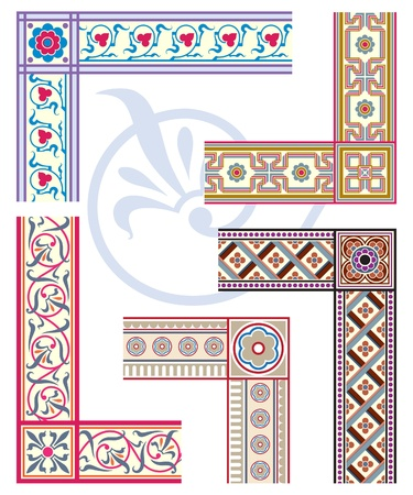 old picture frame: Fleur de Lys frame and border set. Heraldic design elements Illustration