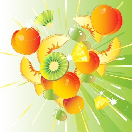 Vers fruit uitbarsting van van perzik, ananas, kiwi, druiven en abrikozen Stock Illustratie