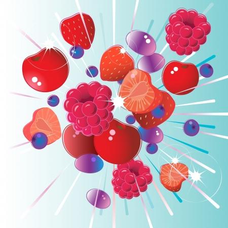 Vers fruit barsten van framboos, aardbei, kersen, bosbessen en druiven Stock Illustratie