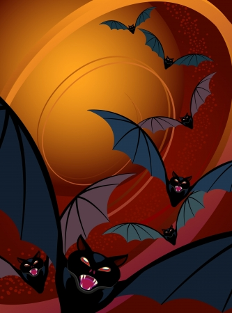 swooping: Halloween background of bats flying by moonlight.