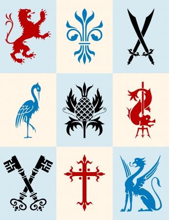 Icon set of heraldic symbols Illustration