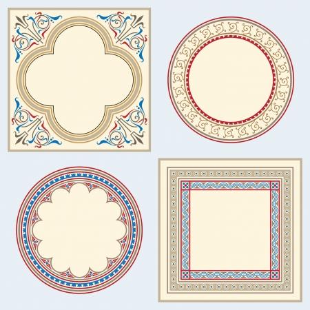 Set van frames in middeleeuwse heraldische stijl