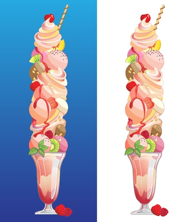 巨大なサイズの新鮮なフルーツ、アイスクリームのサンデー キャンデー、ナットおよびフルーツのソース