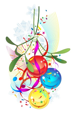 Mistletoe and Christmas party bauble decoration on white background Vector