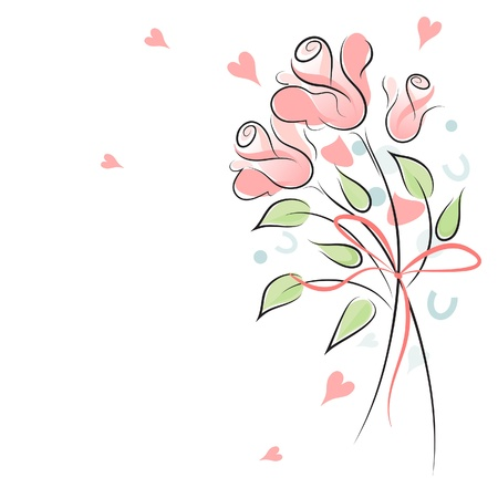 Rose wedding background with copy space