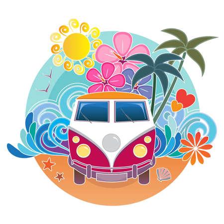 camper: Vintage camper van with sand, waves, sun and palm trees Illustration