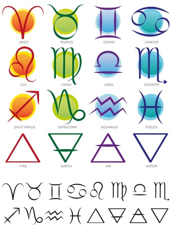 Zodiac and elements sign and symbol set on white Ilustração