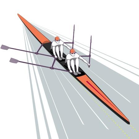 Rowing Teamwork Watersport Illustration