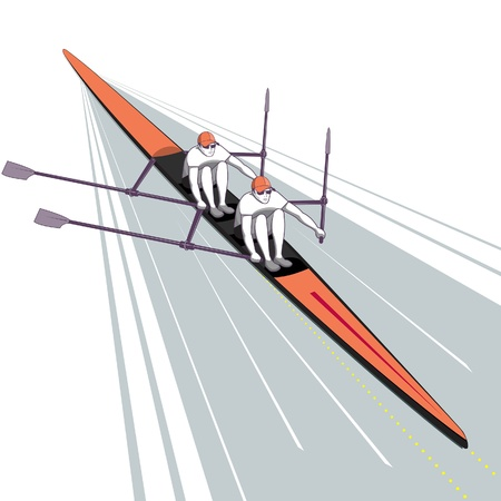 Rowing Teamwork Watersport Illustration