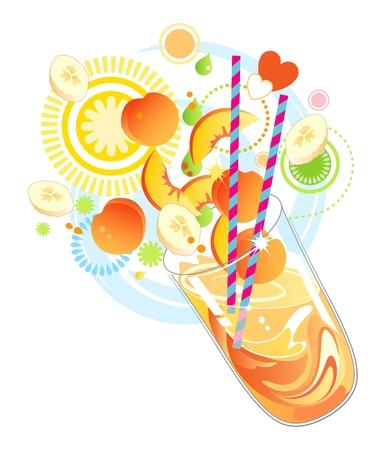 Fruit smoothie of milkshake gemaakt met geel fruit Stock Illustratie