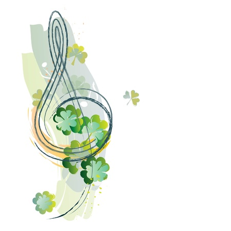 Treble clef and Irish shamrock Vector