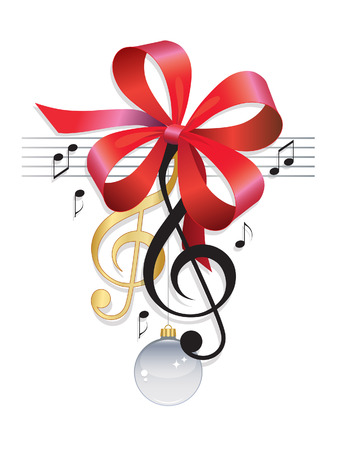 christmas red: Treble Clef Festive Music Background Illustration