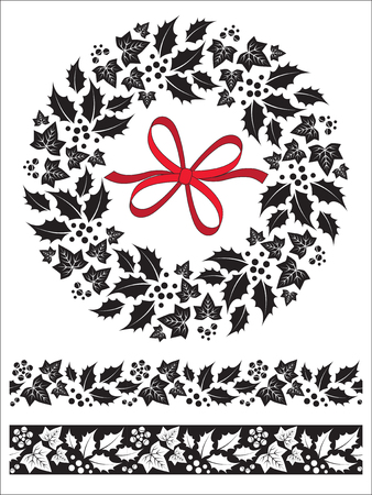 Christmas Holly and Ivy Wreath, Bow and Seamless Border Set
