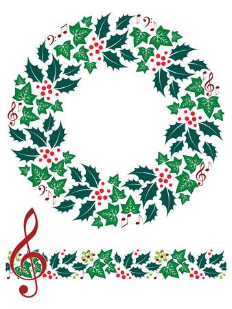 music staff: Christmas Music Wreath and Seamless Border