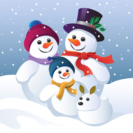 snowman christmas: Snowman family and snow dog in a winter landscape