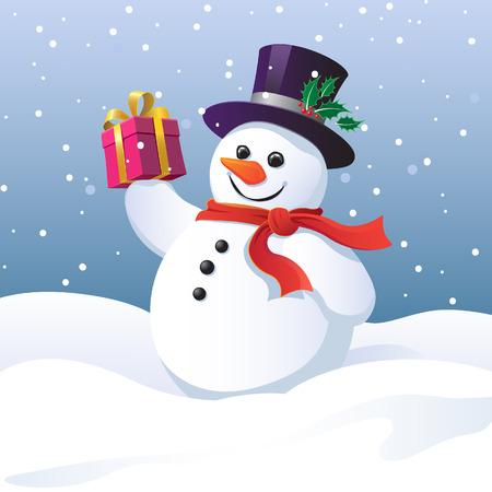 Sneeuwpop in een hoge hoed en sjaal dragen van een gift